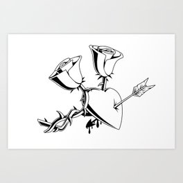 A Heart and 2 Roses Art Print