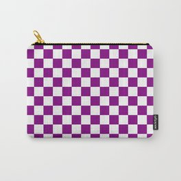 Small Checkered - White and Purple Violet Carry-All Pouch