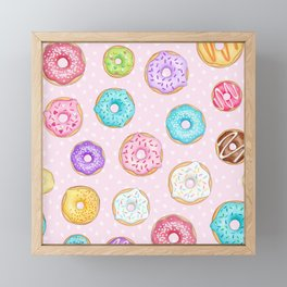 Scattered Rainbow Donuts on pale spotty pink - repeat pattern Framed Mini Art Print