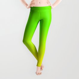 Neon Green and Neon Yellow Ombré  Shade Color Fade Leggings