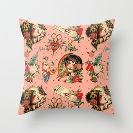 Makers Gonna Make Pattern Pink Throw Pillow
