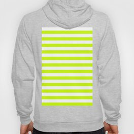 Narrow Horizontal Stripes - White and Fluorescent Yellow Hoody