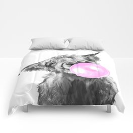 Bubble Gum Highland Cow Black and White Comforters