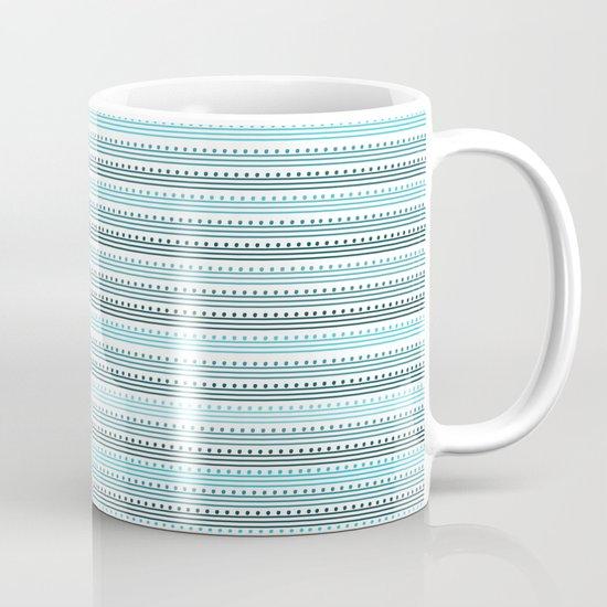 Aqua Lines and Dots Mug