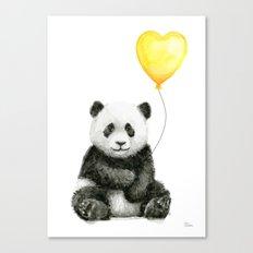 Panda with Yellow Balloon Baby Animal Watercolor Nursery Art Canvas Print