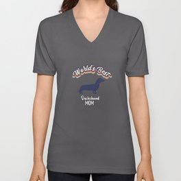 Worlds Best Dachshund MOM Unisex V-Neck
