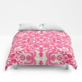 Hot Pink & Soft Cream Folk Art Pattern Comforters