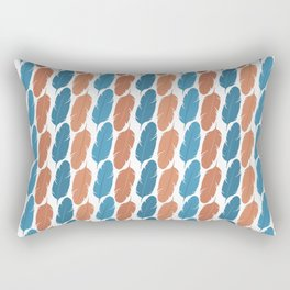 Southwestern Desert Feather Stripes in Terracotta Orange and Turquoise Blue Rectangular Pillow