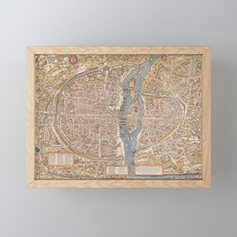 Old Antique Paris Map Framed Mini Art Print