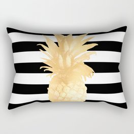 Gold Pineapple Black and White Stripes Rectangular Pillow