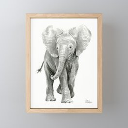 Baby Elephant Watercolor Framed Mini Art Print
