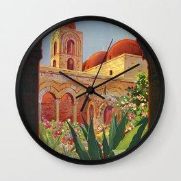 vintage 1920s Palermo Sicily Italian travel ad Wall Clock