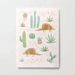 Armadillos in the Desert - Watercolor Metal Print