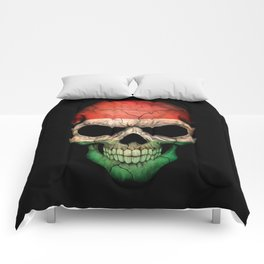 Dark Skull with Flag of Hungary Comforters
