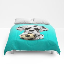 Cute Dalmatian Puppy Dog With Football Soccer Ball Comforters