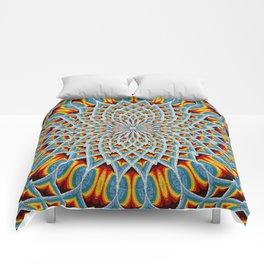 Watercolor Mandala Grunge - Magenta Blue Yellow Comforters