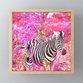 Crazy Zebras Artsy Mixed Media Art Framed Mini Art Print