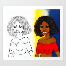 Curly Girl Art Print