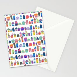 Colorful Neighbors Illustration (White) Stationery Cards