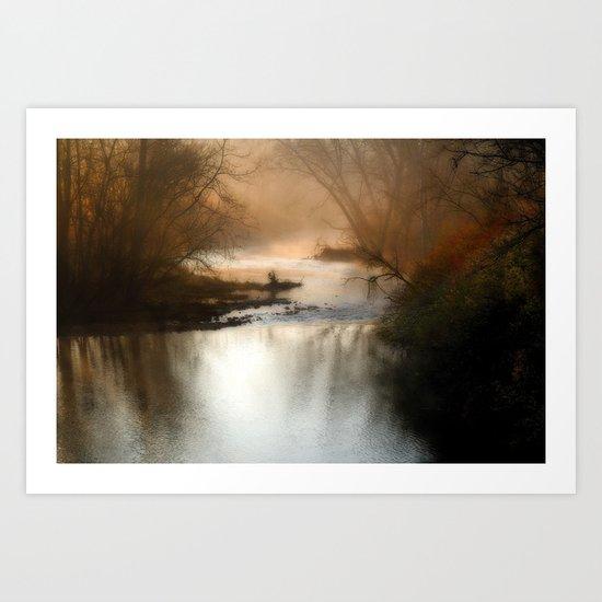 Foggy Alum Creek on a chilly fall morning Art Print