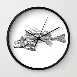 Spooky Fish Skeleton Print Illustration Wall Clock
