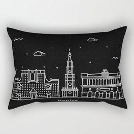 Naples Minimal Nightscape / Skyline Drawing Rectangular Pillow