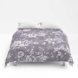 VINTAGE FLORAL MAUVE ROSES PATTERN DARK Comforters