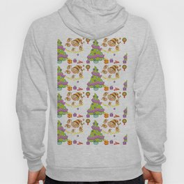 Hand painted green red Merry Christmas holiday typography pattern Hoody