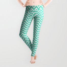 Tiffany Aqua Blue Mini Chevron Stripes Leggings