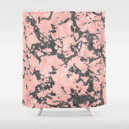 Trendy Rose Gold & Gray Glitter Marble Image Shower Curtain