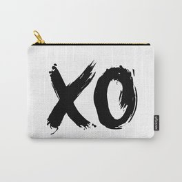 XO Hugs and Kisses black and white xoxo gift for her girlfriend bedroom art and home room wall decor Carry-All Pouch
