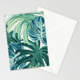 Tropical Palms, Green and Blue, Abstract Stationery Cards