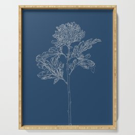 Chrysanthemum Blueprint Serving Tray
