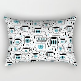 Retro coffee cups teal Rectangular Pillow