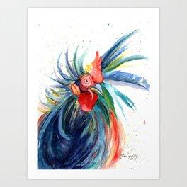 Crazy Kauai Rooster 3 Art Print