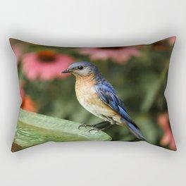 Perched Eastern  BlueBird Rectangular Pillow