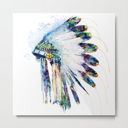 Indian Colorful Headdress Metal Print