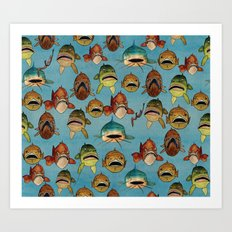 fishing with worms Art Print