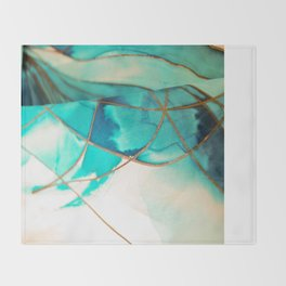 Teal on Silk Throw Blanket
