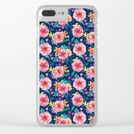 Blue Watercolor Delight Clear iPhone Case
