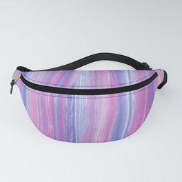 Elegant pink blue violet watercolor brushstrokes stripes Fanny Pack