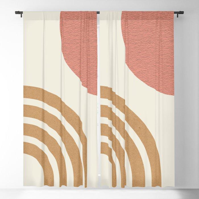 Mid century modern pink Sun & Rainbow Blackout Curtain