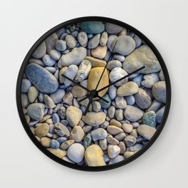 Background Of Smooth River Stones Wall Clock