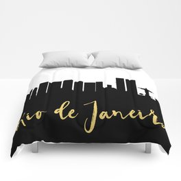 RIO DE JANEIRO BRAZIL DESIGNER SILHOUETTE SKYLINE ART Comforters