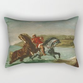 "Eugène Delacroix ""Horses Coming Out of the Sea"" Rectangular Pillow"