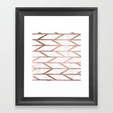 Modern faux rose gold herringbone chevron pattern Framed Art Print