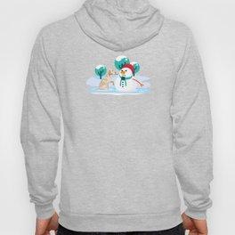 Golden Retriever With Snowman Christmas Dog Lover Hoody