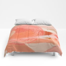 Shapes and Layers no.22 - Pink, coral, peach, orange abstract painting Comforters