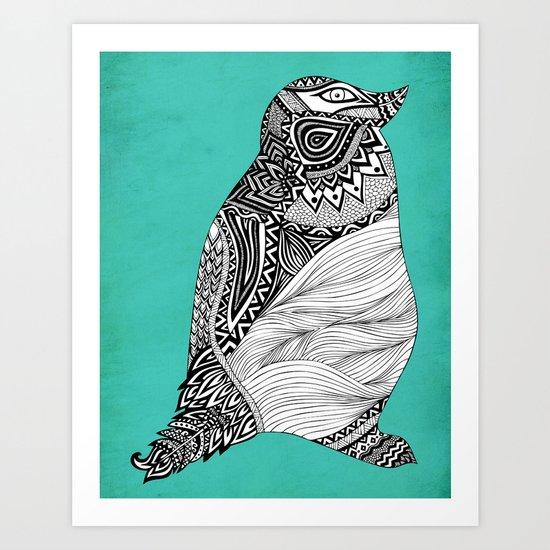 Tribal Penguin Art Print