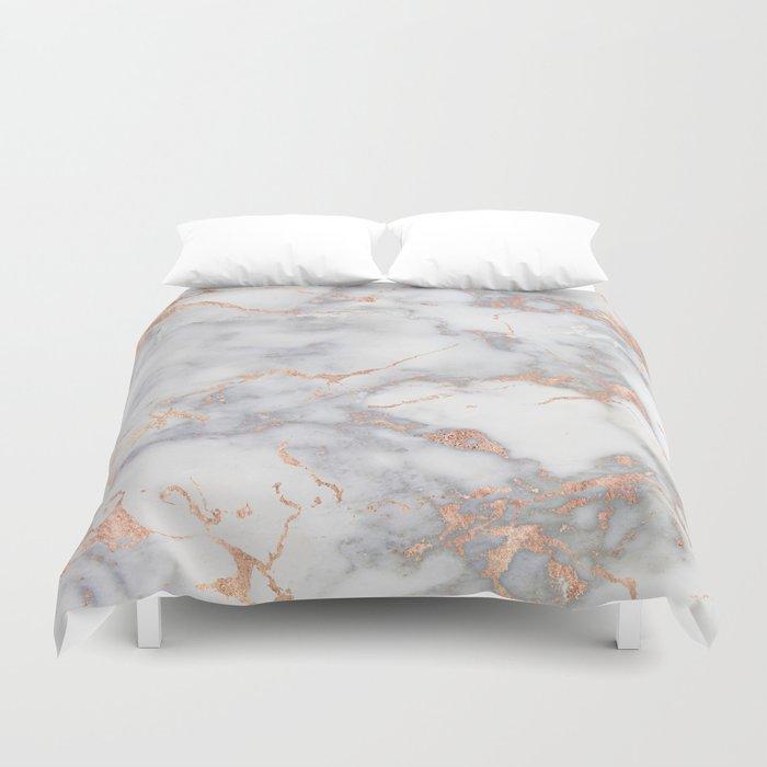 Gray Marble Rosegold  Glitter Pink Metallic Foil Style Duvet Cover